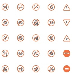 Prohibition signs set vector image vector image