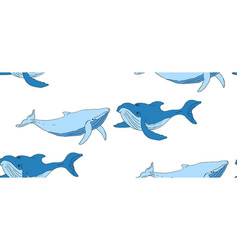seamless background with blue whales vector image