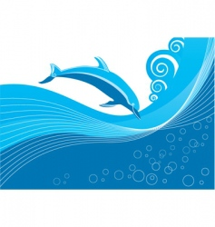dolphin in waves vector image vector image