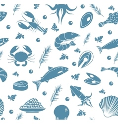 Seafood seamless pattern Fish food endless vector image
