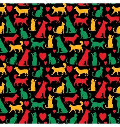 seamless pattern with cats and dogs on black vector image vector image