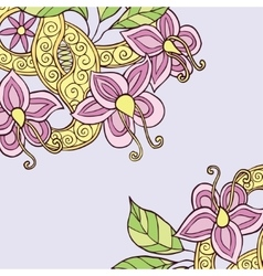 Square background with hand drawn colorful doodle vector image