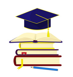 a stack of books over which the graduate cap vector image