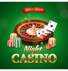Casino background with roulette wheel chips game vector image