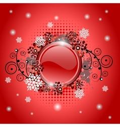 Christmas glossy button vector image