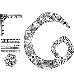 letter C decorated in the style of mehndi vector image vector image