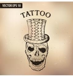 steampun tattoo skull vector image vector image