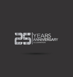 25 years anniversary logotype with silver color vector