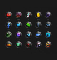 3d popular social media network modern black vector