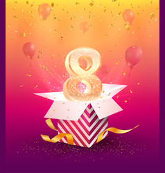 8 years anniversary banner template eight vector image