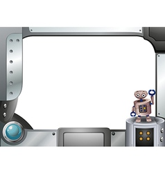 A metallic frame with a robot standing vector image