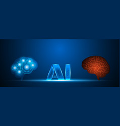 ai human and robot brain artificial intelligence vector image