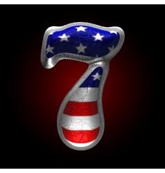 American metal figure 7 vector