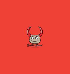 Animal insect head cartoon cute beetle logo vector