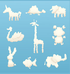 animals from clouds various shapes cartoon vector image