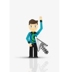 Arrow and man click on the person flat design vector image