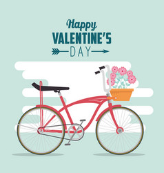 Bicycle transport to celebrate valentine day vector