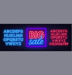 big sale neon sign on brick wall background neon vector image