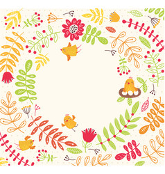 Birds on a floral background cute frame for text vector
