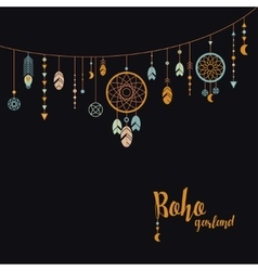 Black background with boho garland vector