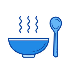 bowl of soup line icon vector image
