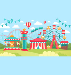 Brightly colored scene in an amusement park vector