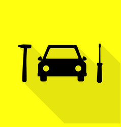 car tire repair service sign black icon with flat vector image