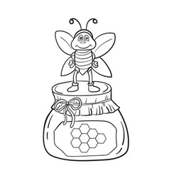 cartoon bee with honey black and white vector image