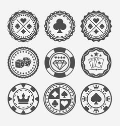 Casino and poker chips round badges vector