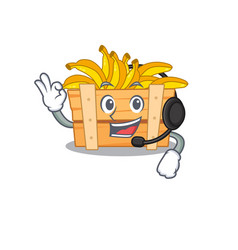 Charming banana fruit box cartoon character vector