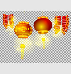 Chinese lanterns and firecrackers on transparent vector