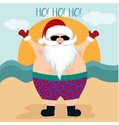 christmas card with santa at beach vector image