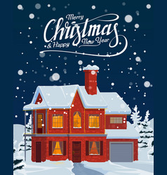 christmas house with falling snow winter holidays vector image
