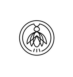 Cicada insect pest circle line logo design vector