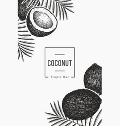 Coconut with palm leaves design template hand vector