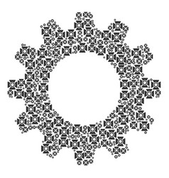 Cogwheel collage of searchlight icons vector