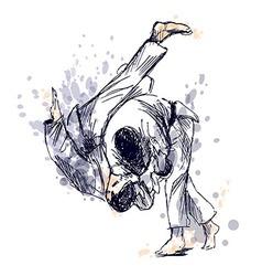 Colored hand sketch fighting judo vector