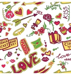 Colored Valentines day doodle pattern vector image