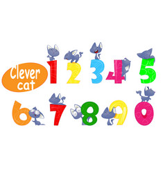 colorful set of childish numbers with cartoon cat vector image