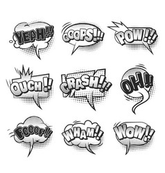 Comic monochrome speech bubbles collection vector