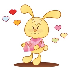 Cute bunny with hearts vector image
