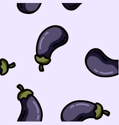 Cute cartoon flat style eggplant seamless pattern vector