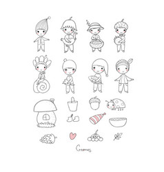 cute funny cartoon garden gnomes funny elves vector image