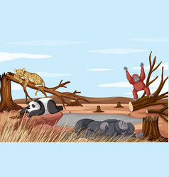 deforestation scene with animals dying from vector image
