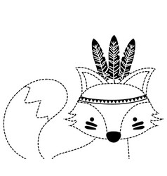 Dotted shape cute fox animal with feathers vector