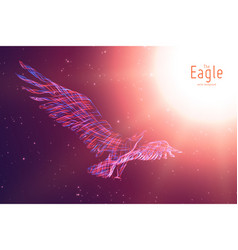 Eagle in flight to sun from abstract vector