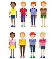 Eight faceless kids standing vector
