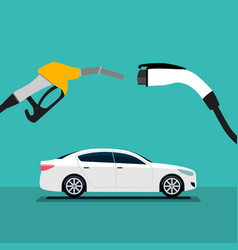 Electric car and fuel fight vector