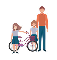 Father and daughters with bycicle avatar character vector