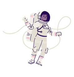 female cosmonaut in spacesuit floating flat vector image